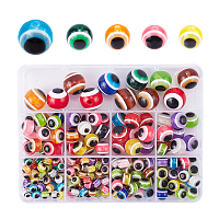 Round Evil Eye Resin Beads, Mixed Color, 6~16x5~15mm, Hole: 1.8~2.5mm; 220pcs/box
