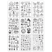 Globleland Acrylic Stamps, for DIY Scrapbooking, Photo Album Decorative, Cards Making, Stamp Sheets, Mixed Patterns, 16x11x0.3cm; 9sheets/set