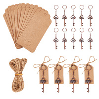 PandaHall Elite 20 Pcs Wedding Favors Skeleton Key Bottle Opener with 20 Pcs Escort Card Tag Jewelry Display Paper Price Tags and 10.9 Yard Twine String