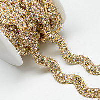 Wedding Dress Decorative Brass Rhinestone Chains, with Spool, Rhinestone Cup Chain, Golden, Crystal, 20x4mm; about 5yards/roll