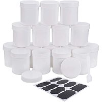 BENECREAT 16 Packs 4oz Plastic Cosmetic Containers White Slime Cream Jars with Inner Gasket, Spatula Scoops and Self-Adhesive Labels for Facial Mask Cream Storage