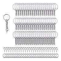 PandaHall Elite 340pcs Keychain Findings Including 100 pcs 4 Styles 20/25/28/30mm Keychain Rings with Chain, 120 pcs Screw Eye Pins, 120 pcs 8mm Open Jump Rings for DIY Craft Jewelry Making Supplies