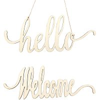 OLYCRAFT 8PCS Hello Welcome Wood Sign Natural Cutout Wooden Letter Sign with Rope for Wedding Anniversary Engagement Home Decoration