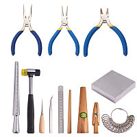PandaHall Elite 13 Sets Jewelry Tool with Metal Mandrel Finger Sizing Measuring Stick, Ring Sizer Gauge, Jewelry Pliers, Jewelers Hammer, Wooden Ring Clamp, Anvil, Awls