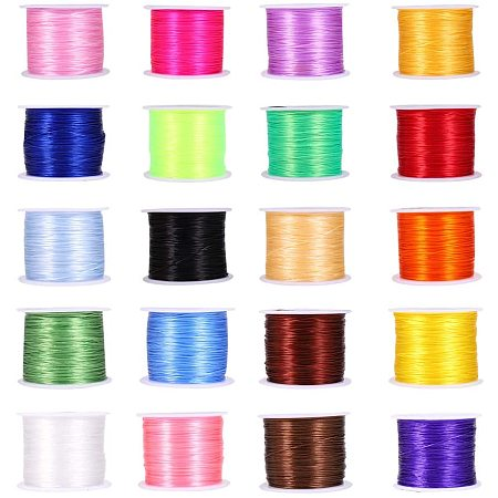 Flat Elastic Crystal String, Elastic Beading Thread, for Stretch Bracelet Making, Mixed Color, 0.5mm; about 45m/roll, 20rolls/set