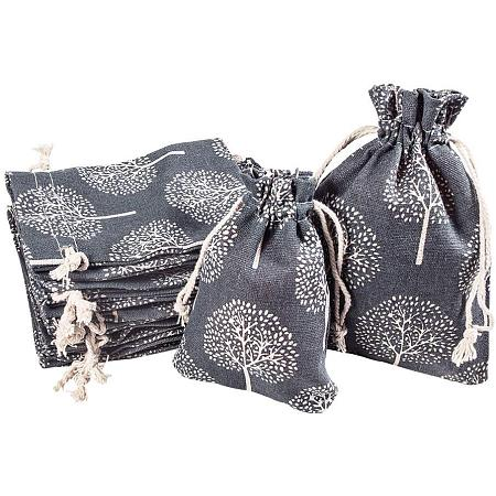 PandaHall Elite 20 pcs 2 Sizes Tree of Life Style Cloth Jewelry Coin Pouch Drawstring Gift Bag Reusable Grocery Bags Candy Travel Purse for Candy Wedding Party Valentine Favors, Steelblue