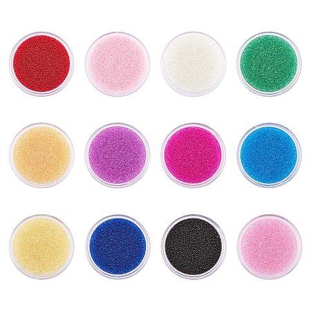 PH PandaHall 240g 12 Color 3D Nail Art Beads Transparent DIY 3D Nail Art Decoration Mini Glass Beads Tiny Caviar Nail Beads for Nail Art Beauty Makeup, 0.6~0.8mm