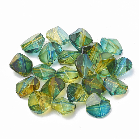 Nbeads Two Tone Transparent Spray Painted Acrylic Beads, Polygon, OliveDrab, 9x9.5x5.5mm, Hole: 1mm