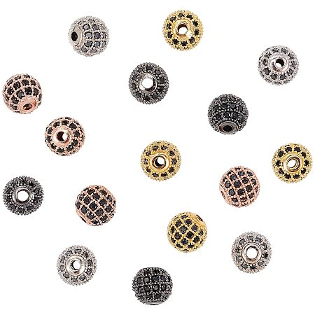 NBEADS 16 Pcs 8mm Round Brass Zirconia Beads 4 Colors Micro Pave Cubic Zirconia Ball Spacer Beads for Jewelry Making