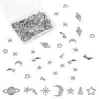 Olycraft Zinc Alloy Links, Open Back Bezel, For DIY UV Resin, Epoxy Resin, Pressed Flower Jewelry, Star, Asterism, Rocket, Moon, Platinum,  112pcs/box