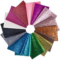 """BENECREAT 15Pcs Mixed Color A4 Size Glitter PU Faux Leather Sheets 8"""" x 12"""" Canvas Back Faux Leather Sheet for DIY Earring and Craft Project, 15 Colors"""