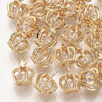 Brass Cubic Zirconia Pendants, Crown, Clear, Real 18K Gold Plated, 15x11x11mm, Hole: 1mm