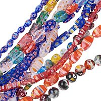 Olycraft Handmade Millefiori Glass Beads Strands, Mixed Shapes, Mixed Color, 10strands/set