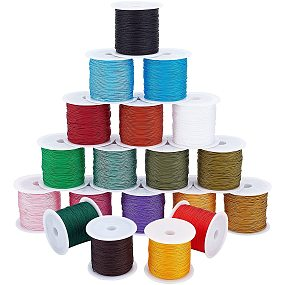 ARRICRAFT 19 Colors Polyester Cord, 0.5mm Round Beading String, Knotting Wire for Chinese Knotting, Kumihimo, Beading, Macramé, Jewelry Making, Sewing
