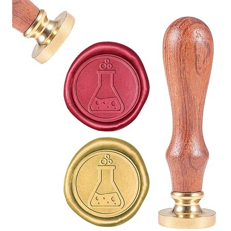 CRASPIRE Wax Seal Stamp, Sealing Wax Stamps Assay Flask Retro Wood Stamp Wax Seal 25mm Removable Brass Seal Wood Handle for Envelopes Invitations Wedding Embellishment Bottle Decoration