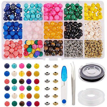 NBEADS 1 Set Bracelets Making Kits, Gemstone Glass Beads Alloy Spacer Beads Elastic Crystal String Iron Scissors Tweezers for Bracelet Jewelry Making