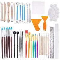 BENECREAT 37PCS Clay Sculpting Tools Kit Ceramic Clay Tools Set Painting Pen Dot Dotting Tools for Pottery Clay Modeling Embossing Nail Art DIY
