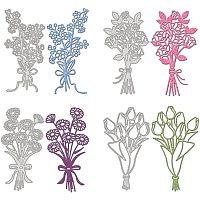 GLOBLELAND 4pcs Metal Flower Bouquet Cutting Dies Stencils for DIY Scrapbooking Album Decorative Wedding Invitation Card Making