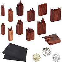 Arricraft 12 Pieces Broken Wooden Pieces Sandalwood Broken Wooden with Eye Pin Peg Bails for Epoxy Resin Crafts Pendant Necklace Landscape DIY Jewelry Making