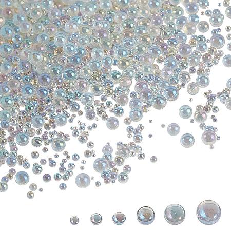Olycraft DIY 3D Nail Art Decoration Mini Glass Beads, Tiny Caviar Nail Beads, Clear AB, 16.5x8.5x1.6cm