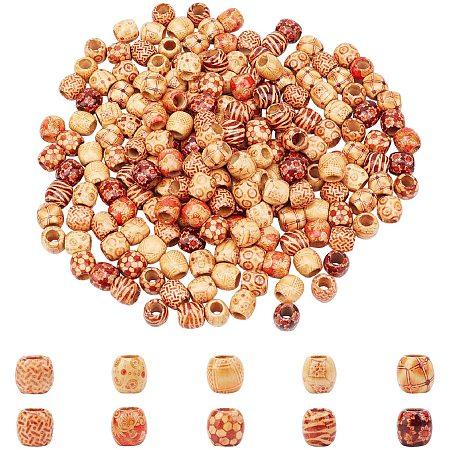 AHANDMAKER Printed Natural Wood Large Hole Beads, Barrel, Lead Free, Mixed Color, 16x14.5~16.5mm, Hole: 7.5mm, 10 colors, 20pcs/color, 200pcs/set