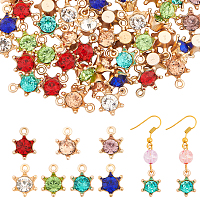 Arricraft Alloy Rhinestone Pendants, Star, Mixed Color, 15.5x11x6.5mm, Hole: 1.5mm; 7 colors, 10pcs/color, 70pcs/box