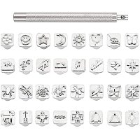 PandaHall Elite 32 pcs Stainless Steel Leathercraft Metal Insect Theme Stamps Punch Set Tool with 1 pc Handle for Leather Craft Belt Bag Craft DIY Jewelry Marking