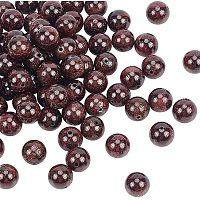 Olycraft Natural Garnet Beads Strands, Round, 10mm, Hole: 1mm; about 38pcs/Strand, 15.35''(39cm), 2strand/box