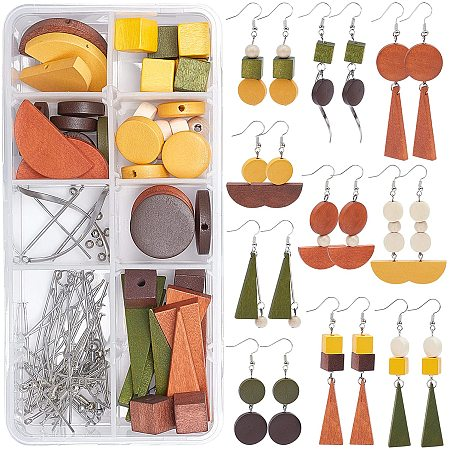 SUNNYCLUE DIY Earring Making Kits, include Wood Pendants & Beads, Iron Spacer Beads & Pins, Brass Bar Links Connectors & Earring Hooks, 304 Stainless Steel Pendants, Mixed Color