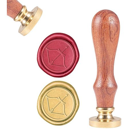 CRASPIRE Wax Seal Stamp Arrow, Wax Sealing Stamps Bow Vintage Wax Seal Stamp Fancy Retro Wood Stamp Removable Brass Seal Wood Handle for Wedding Invitation Embellishment Bottle Decoration Gift Packing