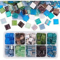 PH PandaHall 300pcs Glass Mosaic Pieces Chips 10 Color Square Mosaic Tiles for DIY Crafts, Plates, Vases, Picture Frames, Flowerpots, Handmade Jewelry