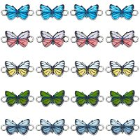 NBEADS 30 Pcs Butterfly Alloy Enamel Link Charm Butterfly Connector Metal Pendant for Earrings Bracelets Necklace DIY Making Jewelry Making Accessories