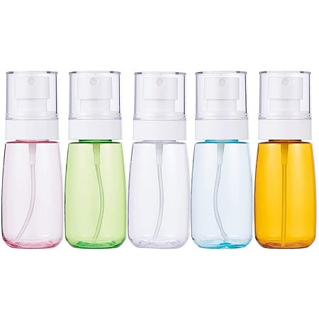 BENECREAT 5 Pack 2oz/60ml Mixed Color Plastic Fine Mist Spray Bottle for Skincare Makeup Face Remover Cleaning Liquid and Hair Spray