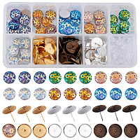 SUNNYCLUE DIY Earring Making, with Mermaid Fish Scale Pattern & Druzy Resin Cabochons, Brass Stud Earring Settings and Clear Plastic Ear Nuts, Mixed Color