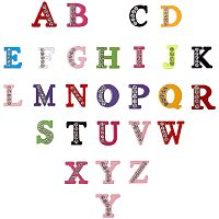 NBEADS Rhinestone Slide Letter Charms, Alloy Intial Letter Beads, Spray Painted, Letter A~Z, 11.5~12x6~13.5x4.5mm; 52pcs/box