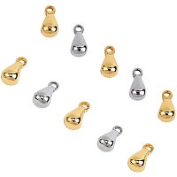 Unicraftale 304 Stainless Steel Charms, Chain Extender Drop, Teardrop, Mixed Color, 6x3mm, Hole: 1mm; 100pcs/box