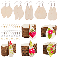 SUNNYCLUE DIY Earring Making, with Unfinished Blank Poplar Wood Big Pendants, Brass Earring Hooks and Iron Jump Rings, BurlyWood