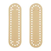 PU Leather Oval Long Bag Bottom, for Knitting Bag, Women Bags Handmade DIY Accessories, Tan, 180x50x4mm, Hole: 4.5mm