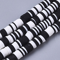 Handmade Polymer Clay Beads Strands, for DIY Jewelry Crafts Supplies, Heishi Beads, Disc/Flat Round, Black, 6x0.5~1mm, Hole: 1.8mm; about 320~447pcs/strand, 15.75 inches~16.14 inches(40~41cm)