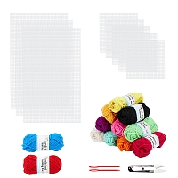 DIY Kit, with DIY Square Plastic Canvas Shapes, Polyacrylonitrile Fiber Yarn, Plastic Needles and Sharp Steel Scissors, Mixed Color