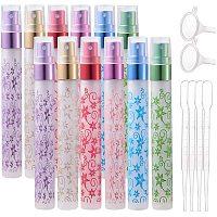 BENECREAT 12PCS 10ml Flower Print Fine Mist Glass Spray Bottles, 4 Pipettes and 2 Hoppers for Aromatic Fragrance