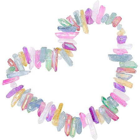 AHANDMAKER Electroplated Natural Quartz Crystal Beads Strands, Dyed, Nuggets, Mixed Color, 20~39x5~12mm, Hole: 1~1.5mm; about 15.7 inches(40cm); 1strand/bag