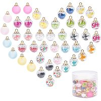 PandaHall Elite 52 Pieces Colorful Acrylic Ball Charms with Acrylic Frosted Ball Burst Crack Beads Pendant for DIY Necklace Bracelet Craft Craft Supplies