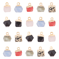 Electroplate Gemstone Charms, with Golden Plated Iron Loop, Faceted, Polygon, 11~12x8x8mm, Hole: 1.5mm, 21pcs/box