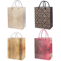 Gorgecraft Single Side Hot Stamping Paper Bags, with Handles, for Party, Birthday, Wedding and Party Celebrations, Rectangle, Mixed Patterns, Unfold: 23x18x10cm; 4pcs/set