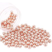 NBEADS Electroplated Natural Lava Beads Strands, Round, Bumpy, Rose Gold Plated, 9mm, Hole: 1mm; about 141pcs/box