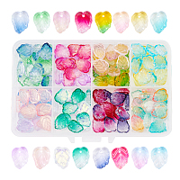 Two Tone Transparent Spray Painted Glass Charms, Leaf, Mixed Color, 13.5x10.5x3.5mm, Hole: 1.2mm; 160pcs/box