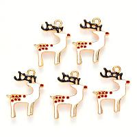 ARRICRAFT Alloy Enamel Pendants, for Christmas, Christmas Reindeer/Stag, Light Gold, White, 23x18x2mm, Hole: 1.8mm