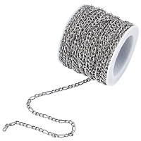 Unicraftale 304 Stainless Steel Figaro Chains, Unwelded, with Spool, Stainless Steel Color, 4~6x3mm; 10m/roll