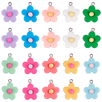 SUNNYCLUE Resin Pendants, with Platinum Plated Screw Eye Pin Peg Bails, Flower, Mixed Color, 24x19.5x8mm, Hole: 2mm; 10 Colors, 4pcs/color, 40pcs/box